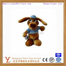 Interesting plush big eyed dog with dress&ball toy for kids