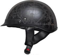 black green leather material motorcycle helmet half face scooter helmet TN8689 C
