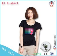 Hot sell custom design el sound activated flashing el t shirt / el light up flashing t shirt wholesale / 3D led flashing t shirt