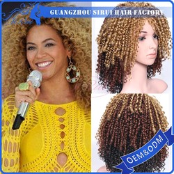 "2015 Wholesale Price Kanekalon 16"" Afro Kinky Curly Synthetic Wig For Women, Ombre Color Blonde and Brown Wigs"