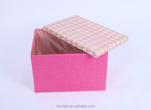 Two sizes linen cardboard material storage box and bin container box in pink color