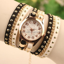 2015 New Flshion Hot Colorful women watches Weave Wrap Rivet Leather Bracelet wrist watches watch women BWL010