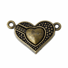 Jewelry Finding Antique Copper / Bronze Heart Shape Magnetic Clasps for Necklace