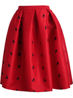 Skirts Bottoms fashion women girl clothes Red Frog Print Flare Skirt