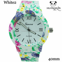 Latest geneva platinum women flower watch floral print relojes geneva flower watch