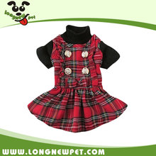 Wholesale Red Tartan Girl Dog Clothes Scotland Style Puppy Skirt for Chihuahua