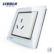 Crystal Glass Panel White wall socket with keypad switch