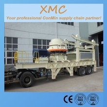 4.25 feet cone hydraulic or spring cone mobile crusher vibrating screening the construction waste material project