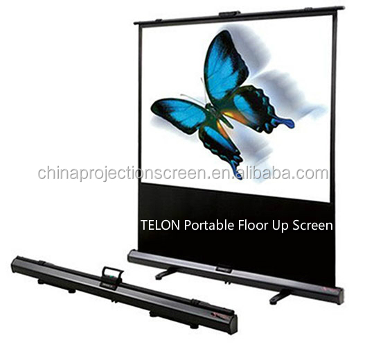 Portable travel floor up projector screen with aluminum for Motorized floor up screen