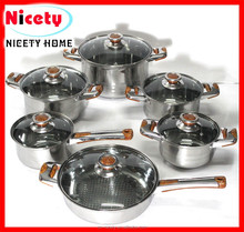 Stainless steel kitchen 12pcs cookware set with removable handles