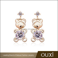 OUXI latest trends bear shaped 18k plated gold earrings new model 2013 with AAA Zircon