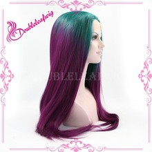 Wholesale Fashion Long Straight hair Synthetic Ombre Lace Front Wig green/purple hair color for balck women