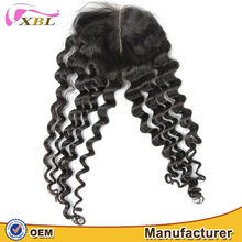 Top quality middle parting lace closure virgin Peruvian deep wave human hair closure
