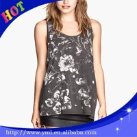 Flower printing cheap tank tops wholesale clothing