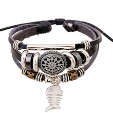 multilayer beaded stainless steel fittings Leather bracelet fish bone No buckle wire adjustment leather bracelet