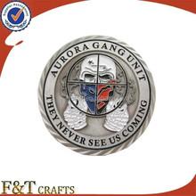 Cool antique soft enamel souvenir round shape custom metal challenge coin