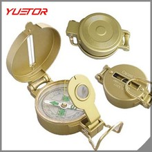 Outdoor Camping Hiking Travel Portable Yellow Pocket Golden Compass Navigation