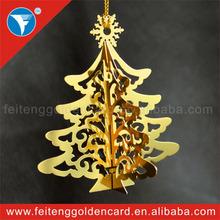 Hot New Etching Metal Xmas Decoration Custom Free Design Holiday Brass Ornament