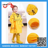 Kawaii yellow branded cheap price promotional kids raincoat