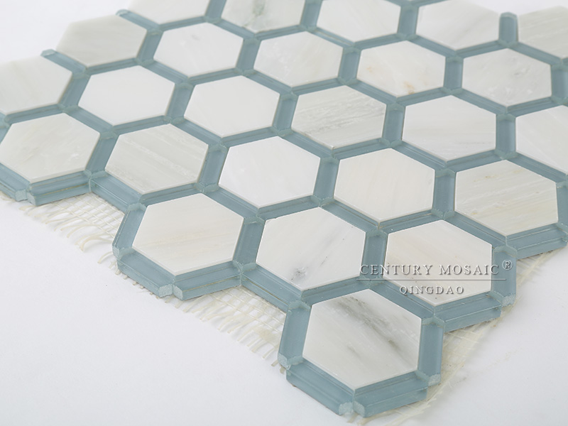 Blue And White Marble Mix Glass Hexagon Floor Mosaic Bathroom Tile Design - Buy Bathroom Tile ...