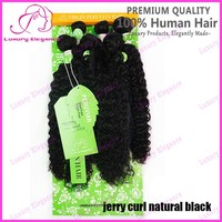 14 16 18 Inch 210g Jerry Curl Virgin Unprocessed Hair Weave With Closure Wholesale