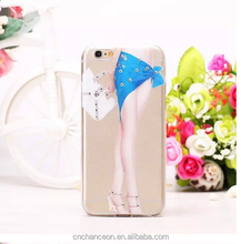 Transparent Soft TPU Sexy mobile phone Case with Reshinestone For iPhone 6 CO-TPU-4009