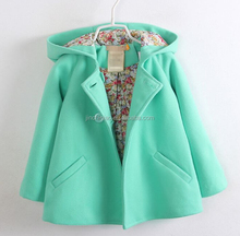 Girls turquoise Wool Blend Cotton Hooded Coat fall 2015