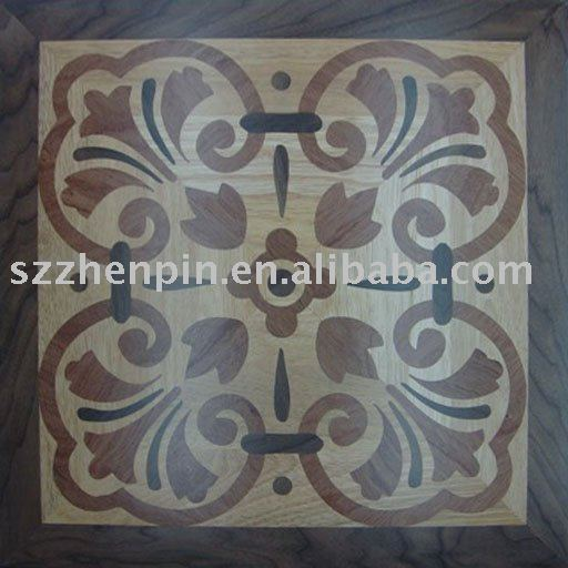 Nuez de roble y balsamo madera mosaico azulejo de piso de parquet