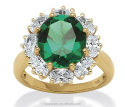 Top design Emerald with 3A Cubic Zirconia Accents women 18k gold ring