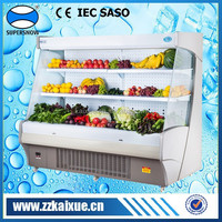 Adjustable length double air curtain vegetable display case