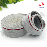 Grey cotton elastic webbing with red and white pinstripe