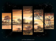 5pcs panel african landscape oil painting for home,hotel,office decor