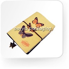 13.5x10cm refill paper notebook with canvas cover and decor metal tag