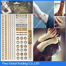 elegant new Glitter tattoo stencils flash tattoo 2015 golden tattoo stickers wholesale fashion jewelry
