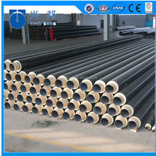 Hot water pipe with api5l carbon steel work pipe and iron outer casing for Denmark water pipeline system