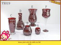 Tapered Cylinder Glass Handmade Mosaic Glass Vase-tea light holder glass vase