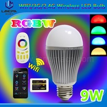 RGB+W color changing 9w bulb wifi led mobile phone controlled