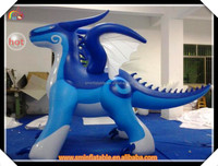 hot sell pvc green inflatable dragon blue city playground for sale