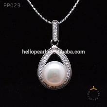 natural branco 925 pérolas de prata esterlina e zircão acessórios verdadeiro colar de pérolas preço pérola pendente de montagem