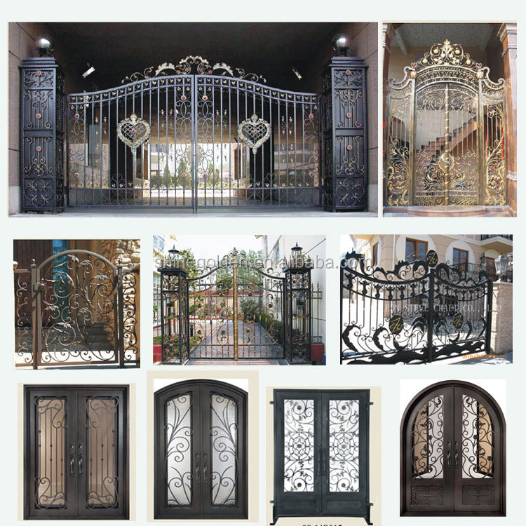 Security used wrought iron door gate designs main entrance for Door gate design
