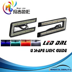 Factory Direct Sale U Shape Xenon White,Blue, Red,Crystal Blue Light Guide LED DRL Car LED Driving Lights