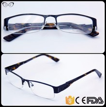 Manufacturer wholesale trendy black half rimless leopard temple tip eyeglass frames india online spectacles frame