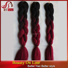 Synthetic Hair X-pression Ombre Braid Black/Purple Color Ultra Braid Hair Use 100% Kanekalon Or Toyokalon Fiber From Japan