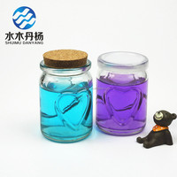 wholesale 200ml heart shaped glass pudding bottle with plastic lid glass yoghourt bottle