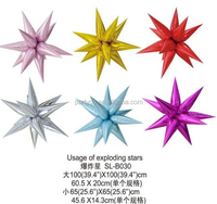 2015 new arrival 100*100/60.5*20/45.6*14.3cm three model Usage of exploding stars foil helium balloons for party decoration