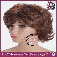 Fashion Swiss Lace Dark Brown Curly 100% Synthetic Wig Bleached Knots Men Toupee Factory Wholesale