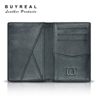 Men's Genuine Cow Leather Black Casual Purse Credit Card Wallet