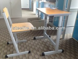 Henan metal office furniture single student desk and chair for combo school