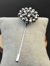 Stock promotion flower bulk lapel pin for men suits and shirts BT016 long needle lapel pin