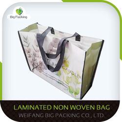Two color two sides silk printing eco non woven reusable shopping bag